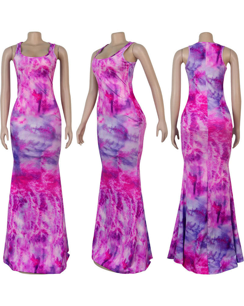 Tie Dye fish tail dress