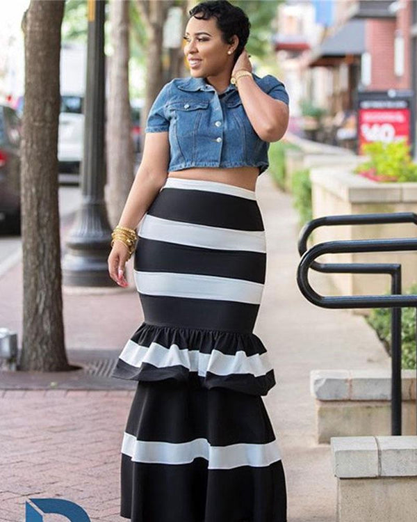 Contrast Color Ruffle Trim Bodycon Skirts