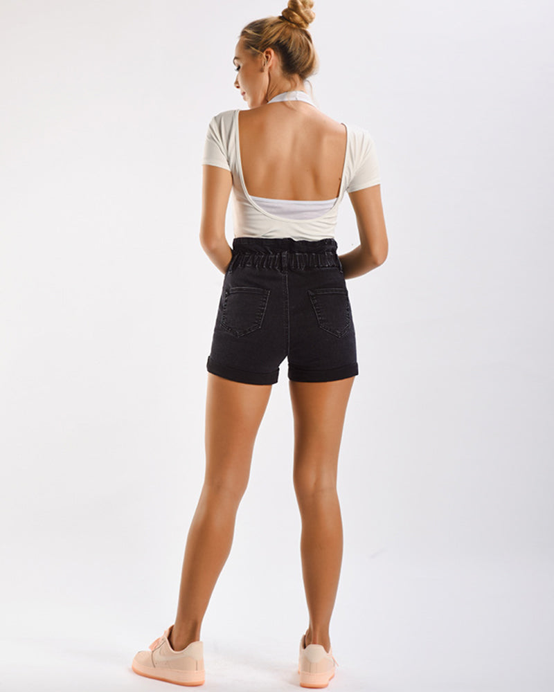 Rolled edges High-waisted Jean shorts