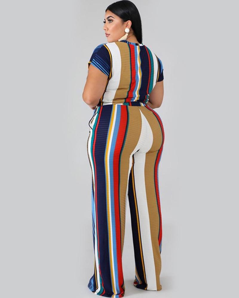 Plus Belt Colour Striped Blouse With Pants