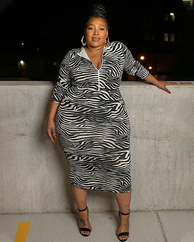 Plus Zebra Wild Midi Dress