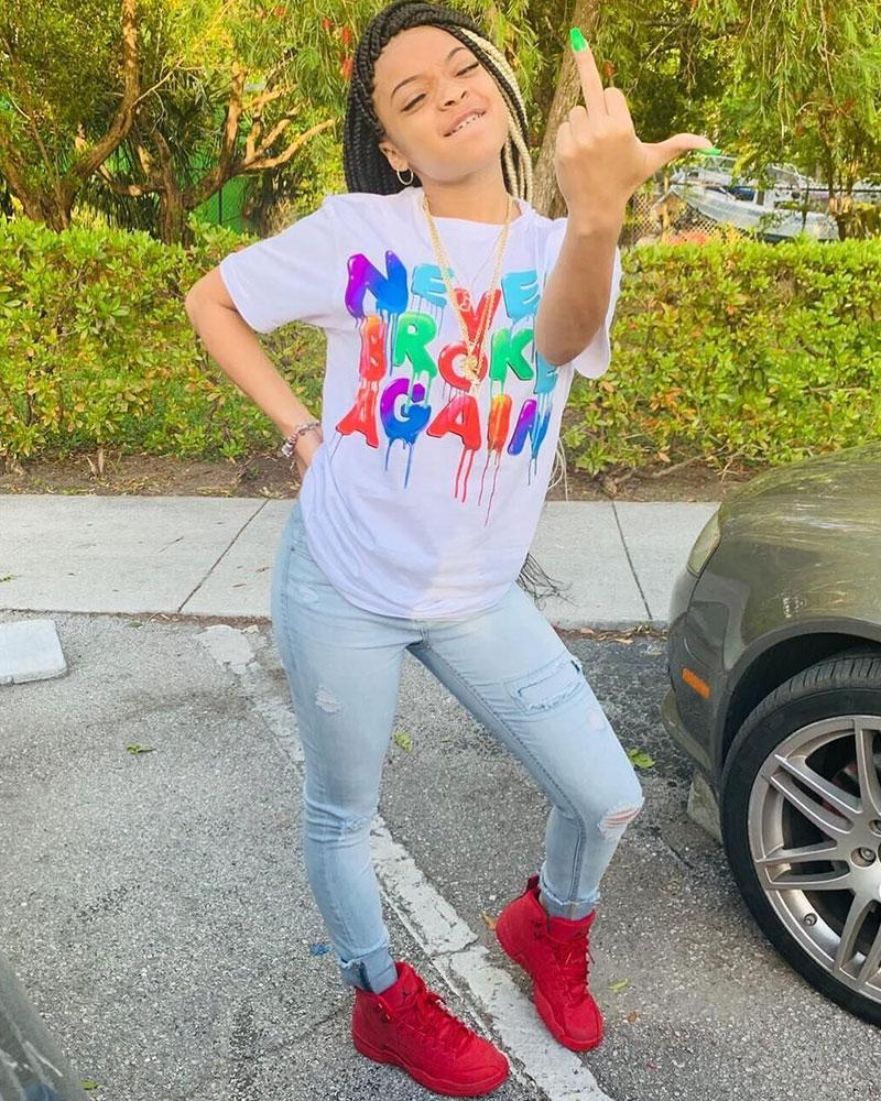 Colorful Letter Print Round Neck Tee