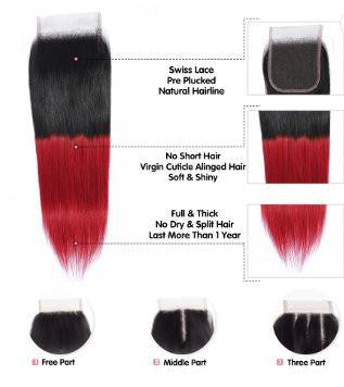 Lace Closure - Silky Straight - 1B/Red.
