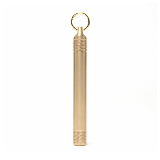 Pocket Portable Brass Toothpick Holder with Mini Key Ring