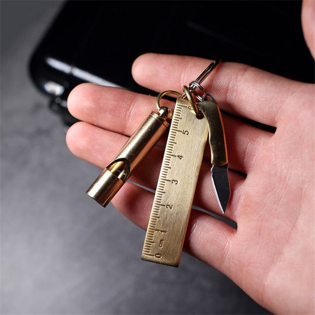 Brass 3 in 1 Multi-function EDC Tool Keychain