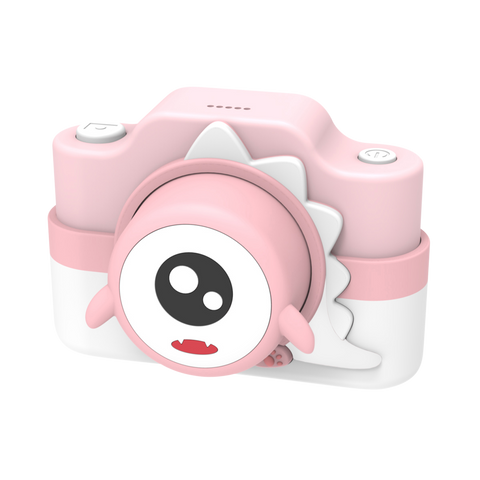 digital kids camera pink dinosaur sleeve frontside