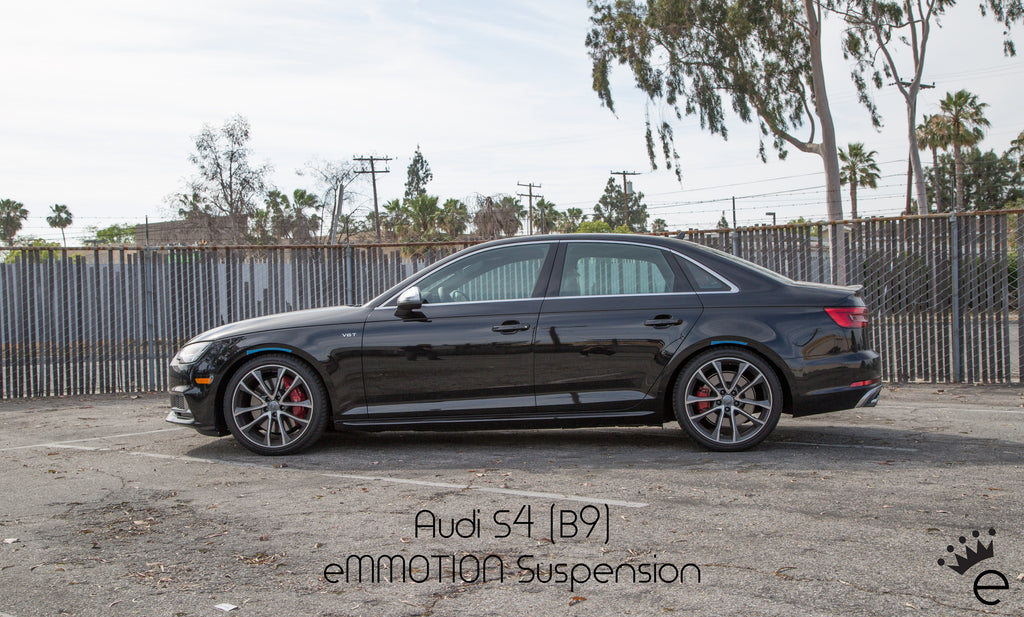Emmotion 2017 audi a4s4 b9 linear lowering spring kit shown below on stock 18 wheels without spacers on a factory non sport a4 second set of photos is with dpe 20x95 et35 wheels sciox Gallery