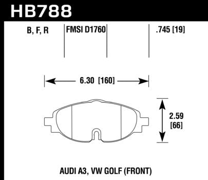 Front Brake Pad Set (Hawk HPS) - 312x25mm Rotors