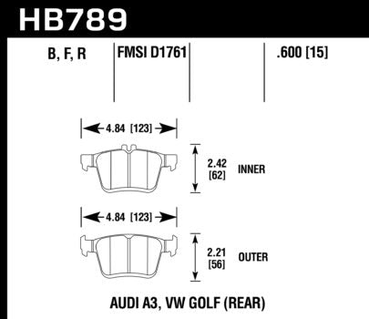 Rear Brake Pad Set (Hawk HPS 5.0) - 310x22mm Rotors