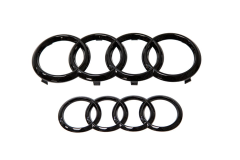 OEM Audi A3/S3/RS3 Front & Rear Emblem Set (Black)