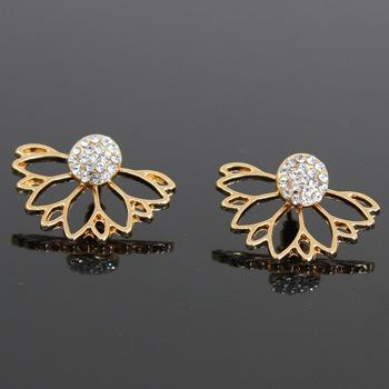 Fashion Crystal Ear Jacket Earrings Gold Silver