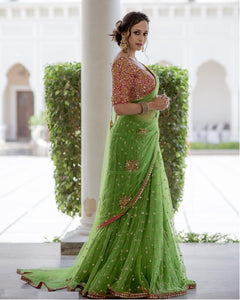 Desuetude Green Nylone Net Saree with Designer Sequnce Work Blouse