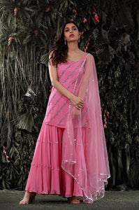Fugacious Pink Georgette Fancy Work Salwar Suits With Dupatta
