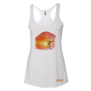 Light grey tank with Sunset Painted print