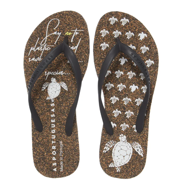 flip flops with black strap made sustainably with cork!