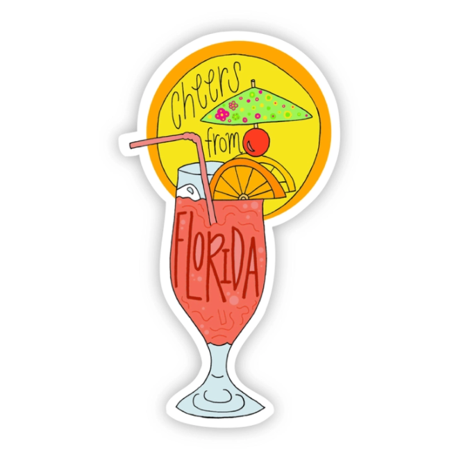 Cheers From Florida Drink Sticker