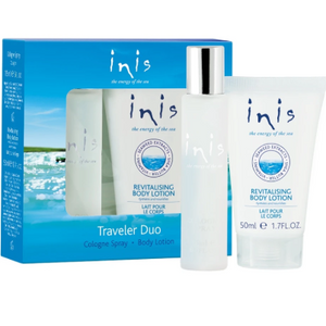 This traveler duo, which makes a great grab-n-go gift at a great value, includes a travel size spray and a free revitalizing body lotion.  Energy of the Sea is their signature scent that captures the coolness, clarity and purity of the ocean. Inis contributes to the protection and conservation of Whales and Dolphins.  Gift-Boxed Never tested on animals Travel spray unisex perfume 15 ml (.5 fl oz.) Revitalizing body lotion 50 ml (1.7 fl oz.)