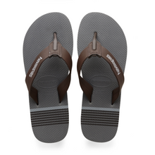 Load image into Gallery viewer, men's flip flops grey footbed with brown straps