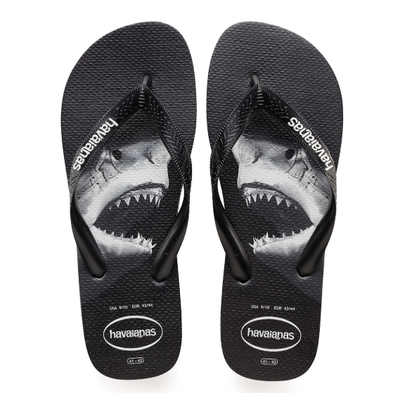 Men's Shark Top Photoprint Flip Flops Black Havaianas