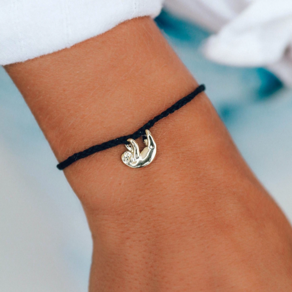 pura vida black sloth bracelet gold