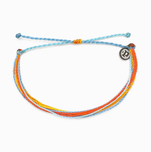 "Pura Vida Bright Original Bracelet in Citus Surfline It's the bracelet that started it all. Each one is handmade, waterproof and totally unique—in fact, the more you wear it, the cooler it looks. Grab yours today to feel the Pura Vida vibes. 100% Waterproof Wax-Coated Iron-Coated Copper ""P"" Charm Adjustable from 2-5 Inches in Diameter"