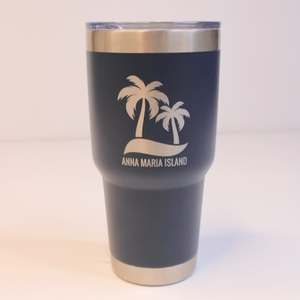 Engraved In The USA 30 oz coffee tumbler with a durable powder coated color. All tumblers are engraved to insure the writing will never peal or fade.