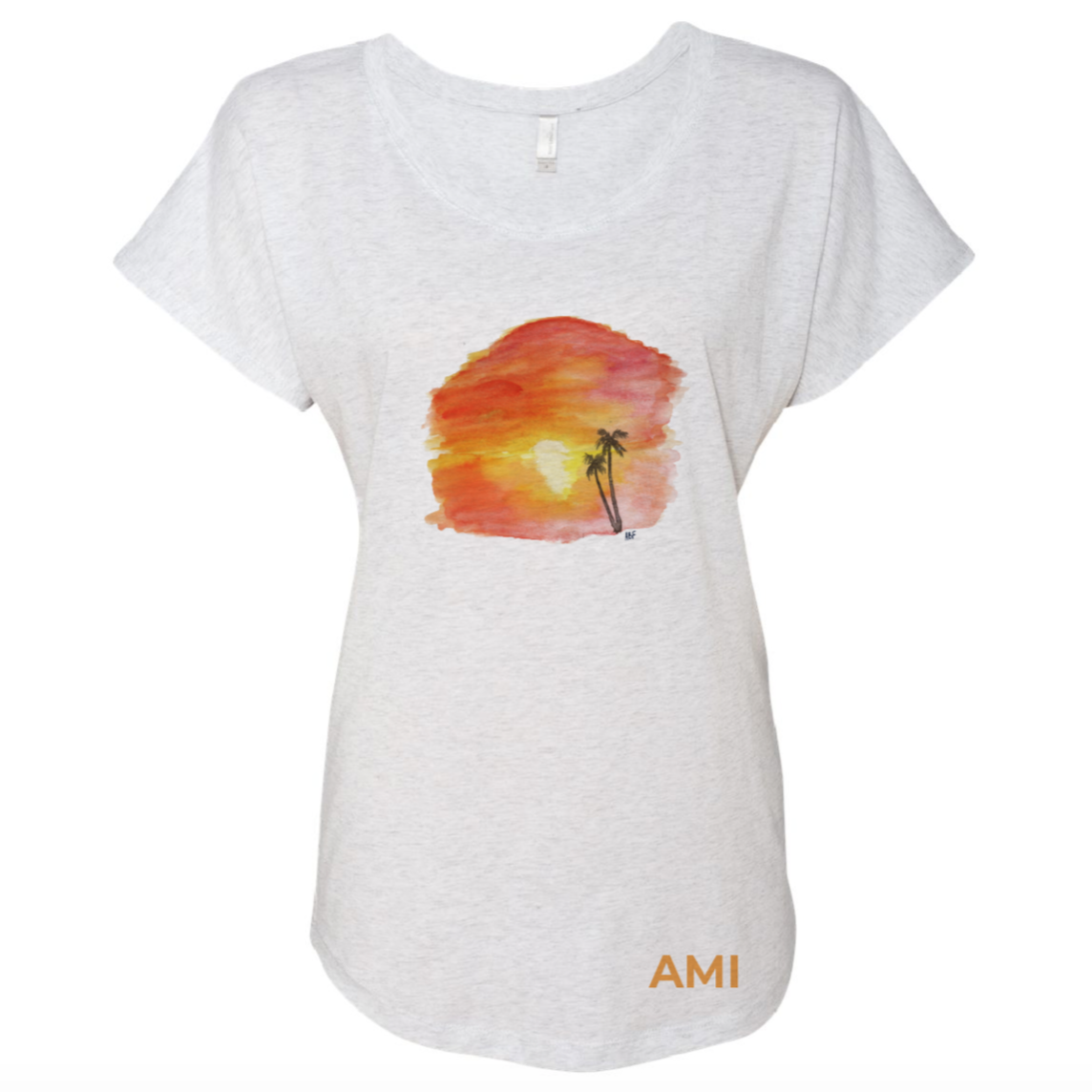 Sunset Watercolor Tee Triblend Dolman - AMI