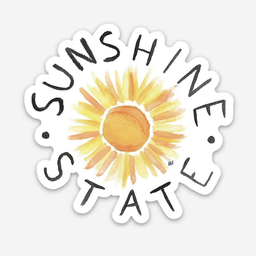 sticker that says sunshine state around a sun painting
