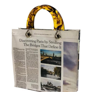 Upcycled Newspaper Discovering Paris Tote