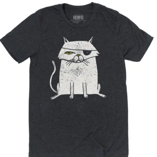 Cat Pirate Grey Tee Adult Unisex Factory 43