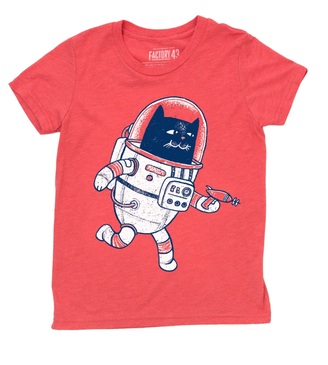 Factory 43 Space Cat Kids Red Tee