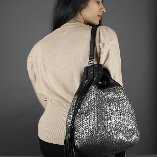 CA 1464 | HANDWOVEN | GUN METAL & BLACK - Calonge