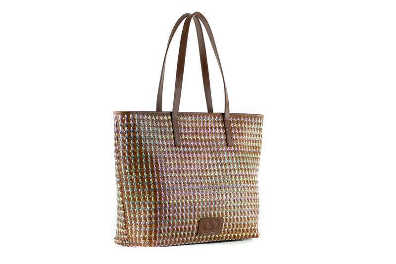 CA 1244 | WOVEN LEATHER & RAFFIA | IRIDESCENT - Calonge