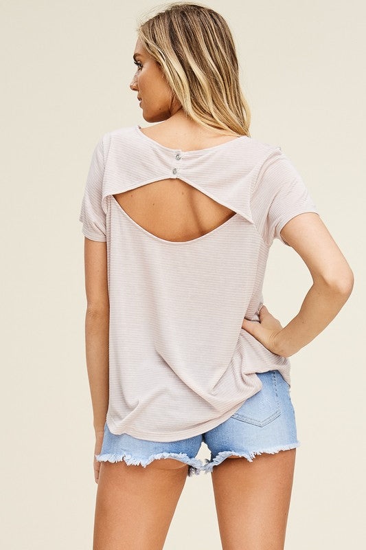 Open Back Tee - Taupe - Olive & Sage Boutique