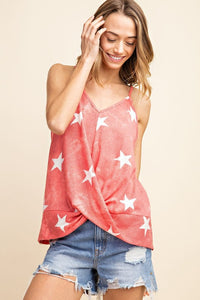 Thermal Tie Dye Star Cami Knit Top - Olive & Sage Boutique