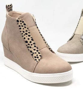 Zoey Wedge Sneaker - Blush Cheetah - Olive & Sage Boutique
