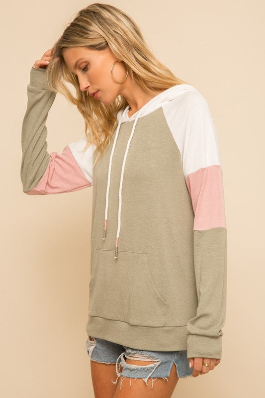 Color Block Hoodie - Olive/Pink - Olive & Sage Boutique