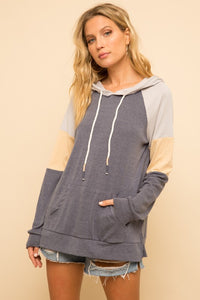 Color Block Hoodie - Navy/Yellow - Olive & Sage Boutique