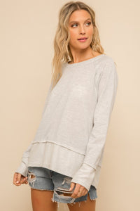 French Terry Sweatshirt Top - Striped - Olive & Sage Boutique