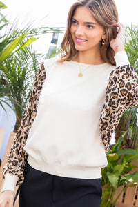 Leopard Long Bubble Sleeve Top - Olive & Sage Boutique