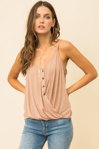 Button Down Bottom Twisted Tank - Olive & Sage Boutique