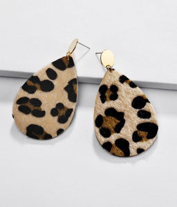 Leopard PU Leather Earrings - Olive & Sage Boutique