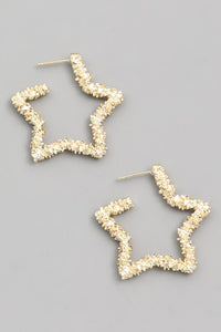 Textured Star Hoop Earrings - Gold - Olive & Sage Boutique