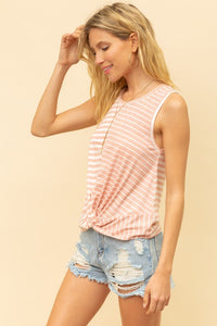 Stripe Mix Twist Tank Top - Olive & Sage Boutique