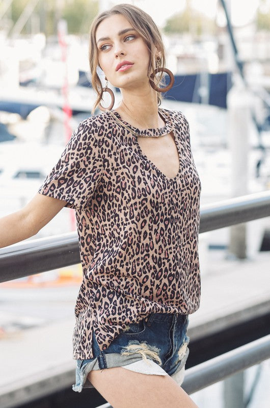 Leopard print V-Neck Short Sleeve Cutout Top