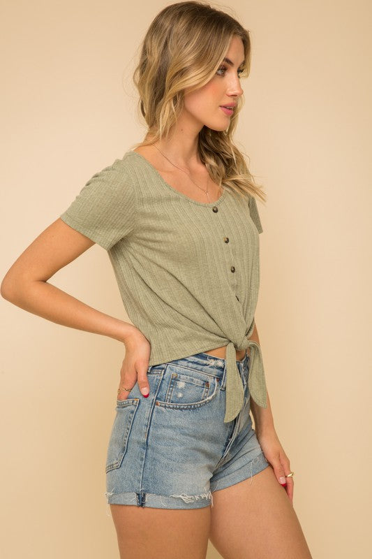 Tie Front Button Down Rib Crop Top - Olive & Sage Boutique