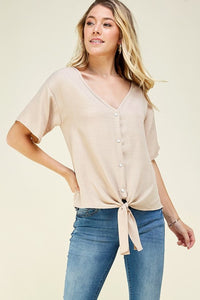 Linen Button-Up Top - Olive & Sage Boutique
