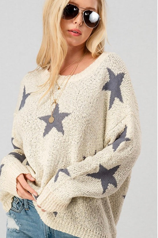 Star Print Knit Top - Olive & Sage Boutique