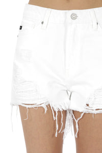 KanCan Destroyed Shorts - White - Olive & Sage Boutique