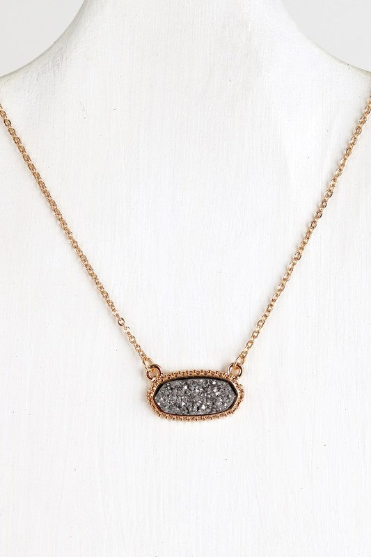 Colored Druzy Necklace - Hematite - Olive & Sage Boutique